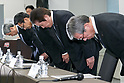 Akira Takeuchi (C) president of Mitsubishi Materials Corp. with other colleagues bow during a news conference on November 24, 2017, Tokyo, Japan. Takeuchi answered questions from reporters after the company admitted that three of its subsidiaries (Mitsubishi Cable Industries Ltd., Mitsubishi Shindoh Co. and Mitsubishi Aluminum Co.) had falsified specification data for products supplied to the aerospace, automotive, electric power and defense industries. (Photo by Rodrigo Reyes Marin/AFLO)