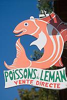 Europe/France/Rhône-Alpes/74/Haute Savoie/env d'Evain: Enseigne d'un pêcheur professionnel sur le lac