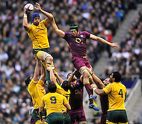 Twickenham, England. Nathan Sharpe of Australia wins the line out during the QBE international match between England and Australia for the Cook Cup at Twickenham Stadium on November 10, 2012 in Twickenham, England