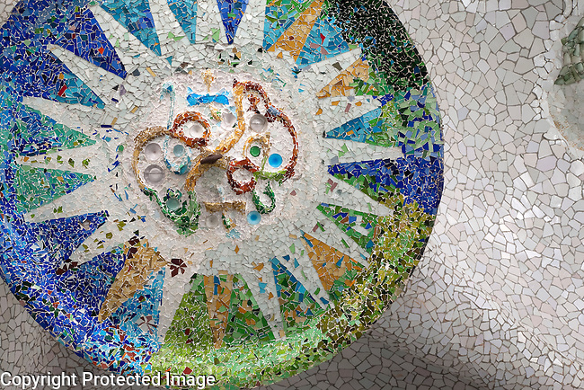 Tile Mosaic in Park Guell by Gaudi in Barcelona, Catalonia, Spain, Catalonia, Spain