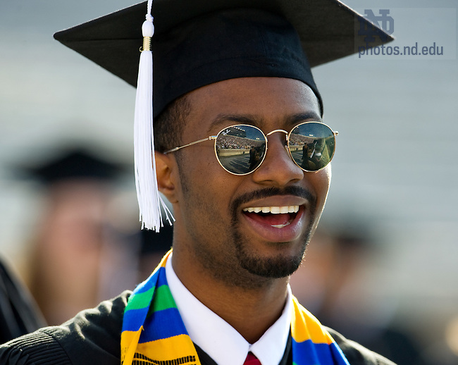 May 22, 2011; Notre Dame Stadium is reflected in the sunglasses of a graduate as he enters for the 2011 Commencement ceremony...Photo by Matt Cashore/University of Notre Dame