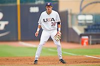 First baseman Dominic Ficociello #32 (Arkansas) of the USA Baseball Collegiate National Team on defense against the Japan Collegiate National Team at the Durham Bulls Athletic Park on July 3, 2011 in Durham, North Carolina.  USA defeated Japan 7-6.  (Brian Westerholt / Four Seam Images)