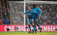 Hector Bellerin of Arsenal celebrates his goal with Danny Welbeck of Arsenal during the Premier League match between Bournemouth and Arsenal at the Goldsands Stadium, Bournemouth, England on 14 January 2018. Photo by Andy Rowland.