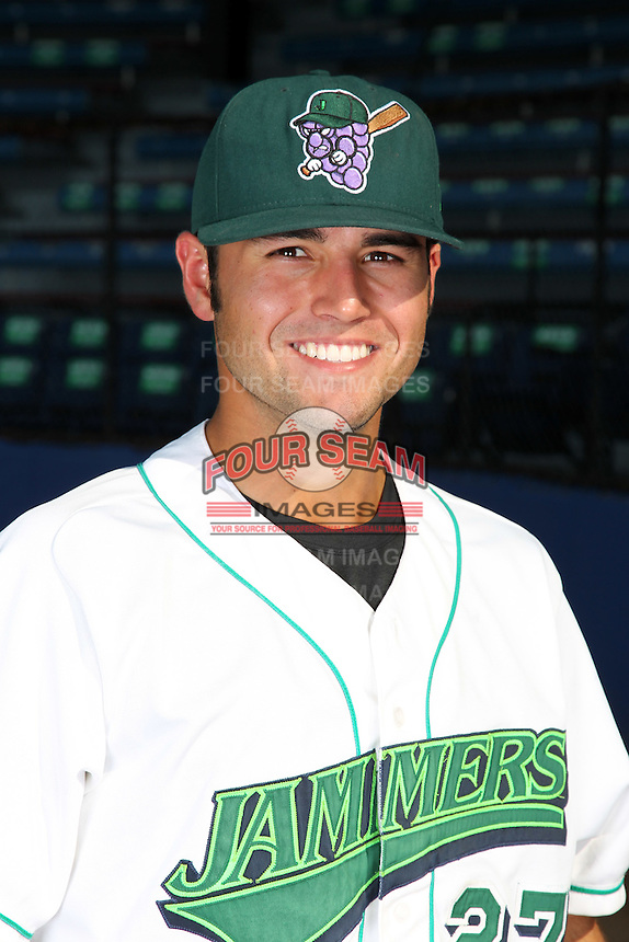 Jamestown Jammers outfielder Brent Keys (27) poses for a photo before a game vs. the Staten Island Yankees at Russell Diethrick Park in Jamestown Jammers, New York July 15, 2010.   Jamestown defeated Staten Island 5-1.  Photo By Mike Janes/Four Seam Images