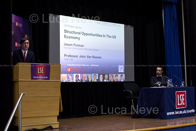 (From L to R) Jason Furman &amp; John Van Reenen.<br /> <br /> London, 05/11/2014. Today, LSE (London School of Economics) presented a public lecture called &quot;Structural Opportunities in the US Economy&quot; hosted by Jason Furman (American economist; Chairman of the Council of Economic Advisers, CEA; former Principal Deputy Director of the National Economic Council Previously; former advisor to candidate Barack Obama during the 2008 presidential campaign; former Special Assistant to the President for Economic Policy during the Clinton Administration; Ph.D. in Economics and M.A. in Government from Harvard University and a M.Sc. in Economics from LSE). Chair of the event was Professor John Van Reenen (British economist; Professor in the Department of Economics and Director of the Centre for Economic Performance - CEP - at the London School of Economics).<br /> <br /> Here there is the link to the podcast of the lecture: http://bit.ly/1xiEENw
