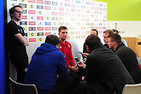 Chris Mepham of Wales during the Wales press conference at St Fagans in Cardiff, Wales, UK. Tuesday 09 October 2018