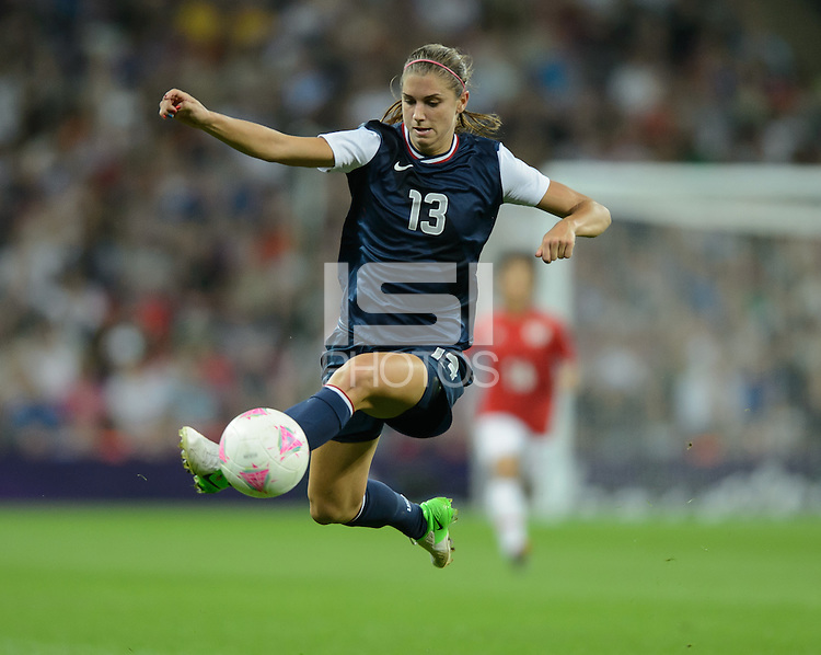 London, England - Thursday, August 9, 2012: The USA defeated Japan 2-1 to win the London 2012 Olympic gold medal at Wembley Stadium. Alex Morgan kicks the ball. .