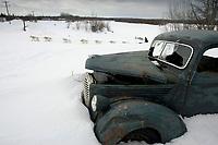 Jim Lanier Drives Team Past Abandoned Truck Anvik Chkpt 2005 Iditarod
