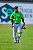 Jaider Rocha (19) of the Great Falls Voyagers walks onto the field before the game against the Ogden Raptors in Pioneer League action at Lindquist Field on August 18, 2016 in Ogden, Utah. Ogden defeated Great Falls 10-6. (Stephen Smith/Four Seam Images)