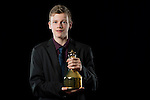 Laurens Devos of Belgium poses backstage with his Male Para Table Tennis Star trophy during the ITTF Star Awards on 8th December 2016, in Doha, Qatar. Photo by Victor Fraile / Power Sport Images