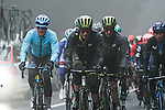 Jakob Fuglsang (DEN) Astana, Adam Yates (GBR) Mitchelton-Scott and Mikel Landa (ESP) Movistar in the dark fog on the category 3 climb over Zaratoma during another wet Stage 4 of the Tour of the Basque Country 2019 running 163.6km from Vitoria-Gasteiz to Arrigorriaga, Spain. 11th April 2019.<br /> Picture: Colin Flockton | Cyclefile<br /> <br /> <br /> All photos usage must carry mandatory copyright credit (&copy; Cyclefile | Colin Flockton)