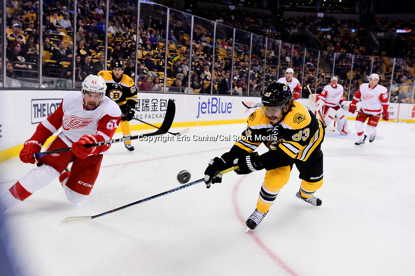 Wednesday, September 28, 2016: Boston Bruins right wing Peter Mueller (93) and Detroit Red Wings defenseman Xavier Ouellet (61) battle for the puck during the NHL game between the Detroit Red Wings and the Boston Bruins held at TD Garden, in Boston, Massachusetts. Detroit beats Boston 5-1 in regulation time. Eric Canha/CSM