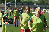 Kansas City, MO - Saturday May 13, 2017:  Portland Thorns FC subs warming up during a regular season National Women's Soccer League (NWSL) match between FC Kansas City and the Portland Thorns FC at Children's Mercy Victory Field.