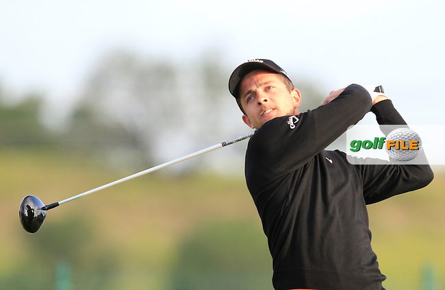 Sebastien Gros (FRA) on the 1st tee during Round 1 of the Challenge de Madrid, a Challenge  Tour event in El Encin Golf Club, Madrid on Wednesday 22nd April 2015.<br /> Picture:  Thos Caffrey / www.golffile.ie