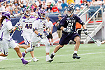 Conor Mackie  (#21) with a faceoff win as Yale defeats UAlbany 20-11 in the NCAAA semifinal game at Gillette Stadium, May 26.
