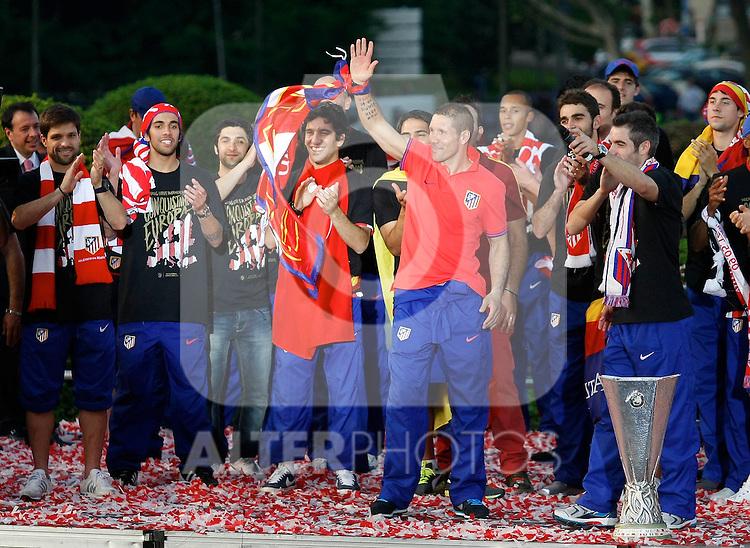 Atletico de Madrid's Diego Simeone and his team  celebrates the UEFA Europa League at Neptuno's square.10, May,2012. (ALTERPHOTOS/Arnedo-Alconada)