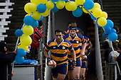 Jeff Maka leads Patumahoe out onto Growers Stadium. CMRFU Counties Power 2008 Club rugby McNamara Cup Premier final between Ardmore Marist & Patumahoe played at Growers Stadium, Pukekohe on July 26th.  Ardmore Marist won 9 - 8.