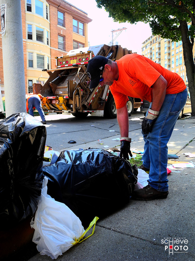 Annual student apartment switch creates mountains of trash in downtown Madison, Wisconsin.