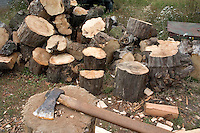 Chopping wood located at the site of a mock up of a military mess hall in Poland where soup and bread is served. Rawa Mazowiecka Central Poland