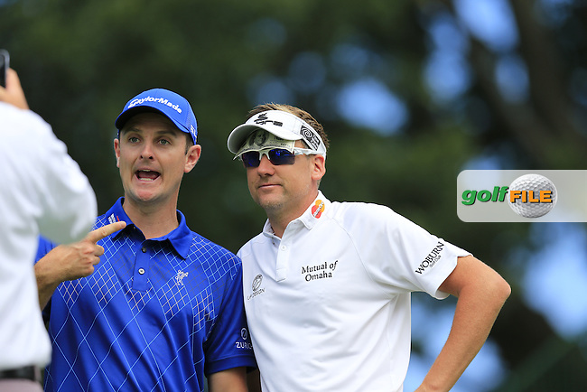 Justin Rose and Ian Poulter (ENG) fool around on the 18th green during Tuesday's Practice Day of the 95th US PGA Championship 2013 held at Oak Hills Country Club, Rochester, New York.<br /> 6th August 2013.<br /> Picture: Eoin Clarke www.golffile.ie