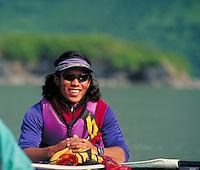 Sea kayaker, Valdez. kayaker. Valdez Alaska United States.