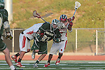 Redondo Beach, CA 05/11/10 - Travis Meersand (MC # 21), Michael Cocke (PV # 5) and Erik Trelenberg (PV # 2) in action during the 2010 Los Angeles Boys Lacrosse championship game, Mira Costa defeated Palos Verdes 12-10 at Redondo Union High School.