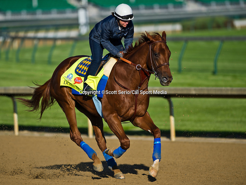 April 28, 2015: Dortmund, trained by Bob Baffert, exercises in preparation for the 141st Kentucky Derby at Churchill Downs in Louisville, Kentucky. Scott Serio/CSM