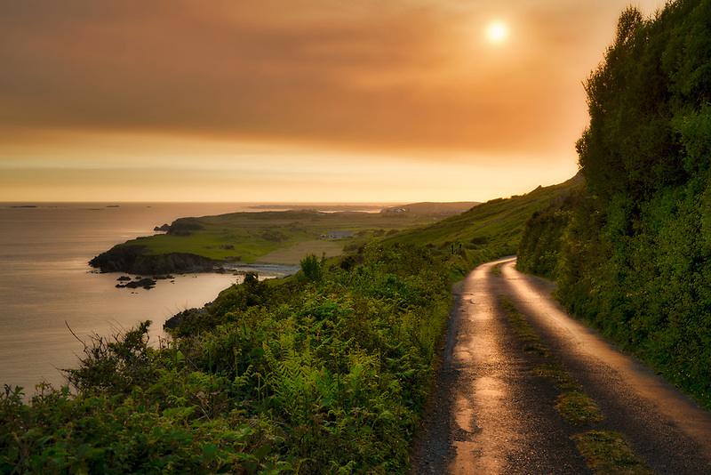 Sky Road at sunset. Near Clifden, Ireland. County Galway, Connemara