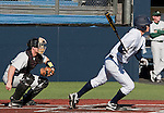 February 24, 2012:   Nevada Wolf Pack's Kewby Meyer lines a single to center against the Utah Valley Wolverines during their NCAA baseball game played at Peccole Park on Friday afternoon in Reno, Nevada.