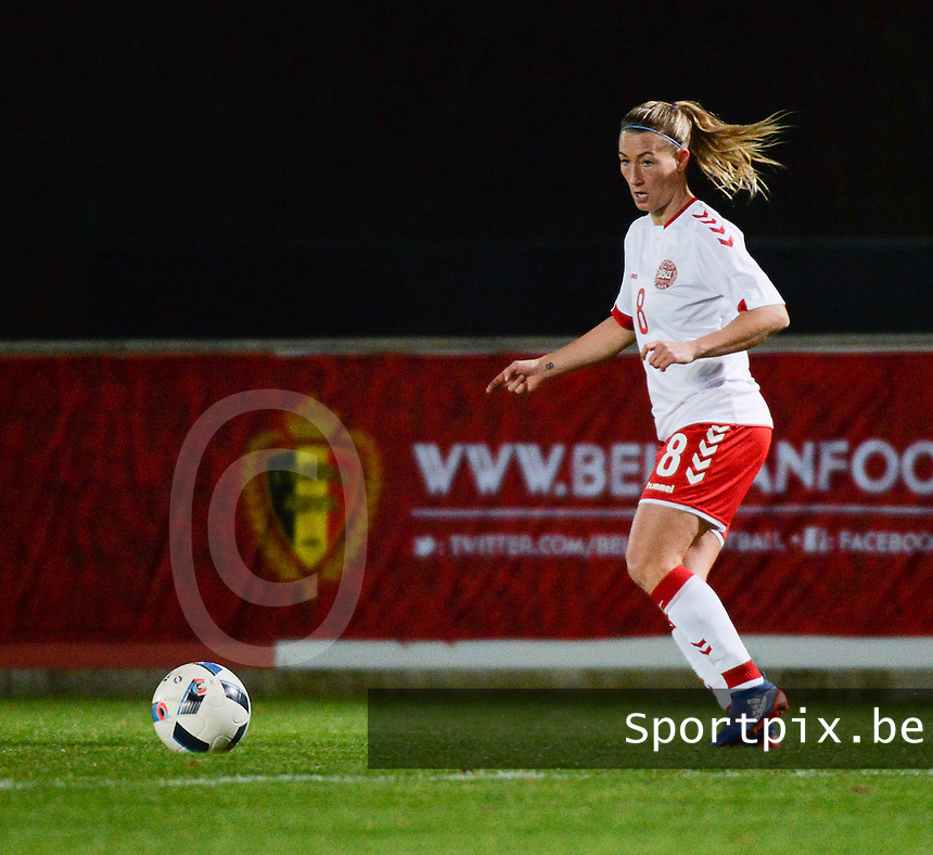 20161128 - TUBIZE ,  BELGIUM : Danish Theresa Nielsen pictured during the female soccer game between the Belgian Red Flames and Denmark , a friendly game before the European Championship in The Netherlands 2017  , Monday 28 th November 2016 at Stade Leburton in Tubize , Belgium. PHOTO SPORTPIX.BE | DIRK VUYLSTEKE