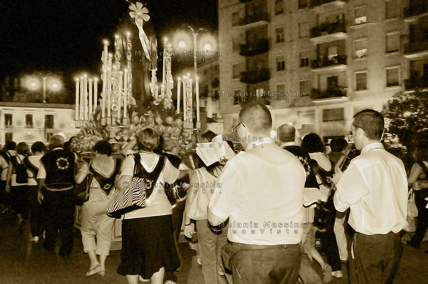 Procession in the historic city center of Palermo.<br /> Processione nel centro storico di Palermo.
