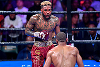 """Fairfax, VA - May 11, 2019: Jarrett """"Swift"""" Hurd during Jr. Middleweight title fight at Eagle Bank Arena in Fairfax, VA. Julian Williams defeated Hurd to take home the IBF, WBA and IBO Championship belts by unanimous decision. (Photo by Phil Peters/Media Images International)"""
