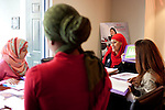 For a Brian Knowlton FF story on Muslim women in the US..USA, Atlanta, GA. 10, NOVEMBER, 2010. Tayyibah Taylor is the publisher and editor-in-chief of Azizah: The Voice For Muslim Magazine, a magazine published in Atlanta, Georgia. She heads an editorial meeting in Atlanta with Fadoua Abida (left) and other colleagues... //// KENDRICK BRINSON/LUCEO for the International Herald Tribune