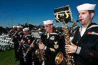 Members of Navy Band Southwest perform on Mount Soledad.  Brigadier General James Maitland Stewart, United States Air Force, a highly decorated WWII pilot was honored with a special plaque during at a dedication ceremony attended by his daughter and other family members.  Stewart, who would have been 100 years old this year was better known to most of the world as a highly acclaimed Hollywood actor.