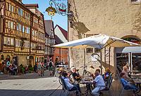 Germany; Bavaria; Lower Franconia; Ochsenfurt: café in old townhall | Deutschland, Bayern, Unterfranken, Ochsenfurt: Café im Alten Rathaus, die Brueckengasse in der Altstadt