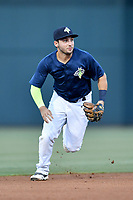 Third baseman Michael Paez (3) of the Columbia Fireflies plays defense in a game against  the West Virginia Power on Thursday, May 18, 2017, at Spirit Communications Park in Columbia, South Carolina. Columbia won in 10 innings, 3-2. (Tom Priddy/Four Seam Images)
