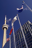 AJ3070, Toronto, Ontario, Canada, Flags fly in front of the Skydome Hotel and CN Tower in downtown Toronto.