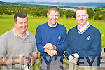 Enjoying the presidents prize day at Killorglin Golf Club on Sunday were Mossie Fitzgerald, Mick Kearns and Sean Counihan.