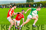 Ballydonoghue V Brosna : Ballydonoghue's Diarmuid Behan wins the ball despite the close attention of Brosna's Kieran Lynch & Shane Curtin in their quarter final clash in The Bernard O'Callaghan Memorial Senior North Kerry Football Championship clash in Duagh on Sunday last.