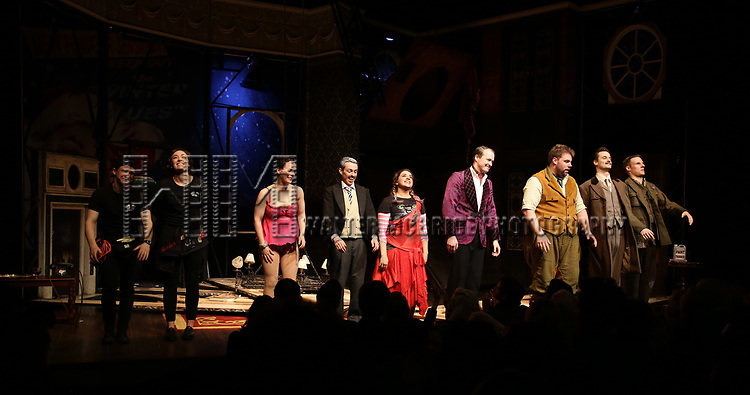 Matthew Cavendish, Bryony Corrigan, Charlie Russell, Jonathan Sayer, Nancy Zamit, Greg Tannahill, Henry Lewis, Henry Shields and Dave Hearn from the cast of 'The Play That Goes Wrong' during the Broadway Opening Night curtain call bows at the Lyceum Theatre on April 2, 2017 in New York City.