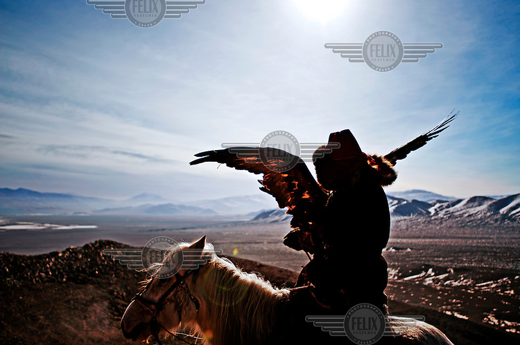 A Kazakh eagle hunter with his bird. The birds are carried on a thick glove and released, from horseback, to catch prey. The tradition is believed to originate in Central Asia some 6000 years ago and is generally a winter sport, as that is when the prey has grown its sought after winter pelt. The birds are Golden Eagles and weigh up to seven kilos with a wingspan in excess of two metres.