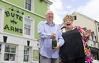 COPY BY TOM BEDFORD<br /> Pictured: David and Penny Bradley at their pub in Aberdare, Wales, UK. Tuesday 24 July 2018<br /> Re: &quot;That's the last time I send him to do the lottery.&quot; David and Penny Bradley who missed out on &pound;50m by one number - but still picked up &pound;350,000.<br /> Pictured at their pub in Aberdare, South Wales