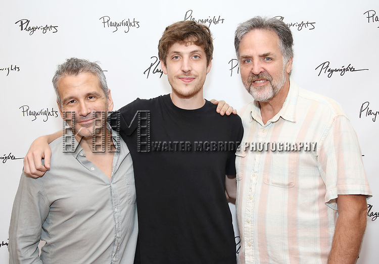 Director David Cromer and playwright Max Posner with Playwrights Horizons artistic director Tim Sanford during the first day of rehearsals for the Playwrights Horizons production of 'The Treasurer' on August 1, 2017 at the Playwrights rehearsal studio in New York City.
