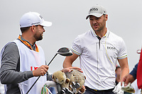 Martin Kaymer (GER) chats with his caddie after his tee shot on 9 during round 1 of the 2019 US Open, Pebble Beach Golf Links, Monterrey, California, USA. 6/13/2019.<br /> Picture: Golffile | Ken Murray<br /> <br /> All photo usage must carry mandatory copyright credit (© Golffile | Ken Murray)