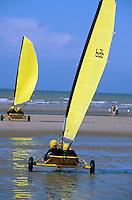 Strandsegler am Strand von De Panne, Flandern, Belgien