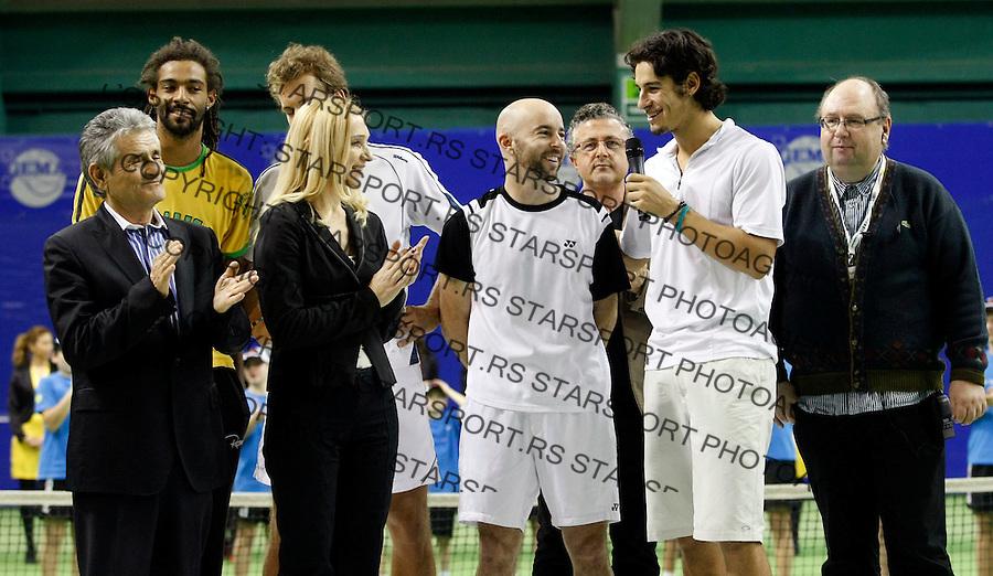 Tennis.Gemax Open 2010, doubles final match.Ilija Bozoljac & Jamie Delgado (GBR) Vs. Dustin Brown (JAM) & Martin Slanar (AUT).Djordje Antelj.Belgrade, 20.02.2010..foto: Srdjan Stevanovic©