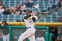 Jabari Blash (36) of the Salt Lake Bees bats against the Sacramento River Cats at Smith's Ballpark on April 19, 2018 in Salt Lake City, Utah. Salt Lake defeated Sacramento 10-7. (Stephen Smith/Four Seam Images)