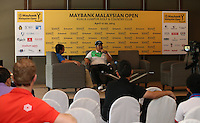 Defending Champion Kiradech Aphribarnet (THA) during the preview media interviews at the 2014 Maybank Malaysian Open at the Kuala Lumpur Golf & Country Club, Kuala Lumpur, Malaysia. Picture:  David Lloyd / www.golffile.ie