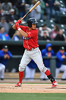 Left fielder Carlos Duran (13) of the Lakewood BlueClaws bats in a game against the Columbia Fireflies on Friday, May 5, 2017, at Spirit Communications Park in Columbia, South Carolina. Lakewood won, 12-2. (Tom Priddy/Four Seam Images)