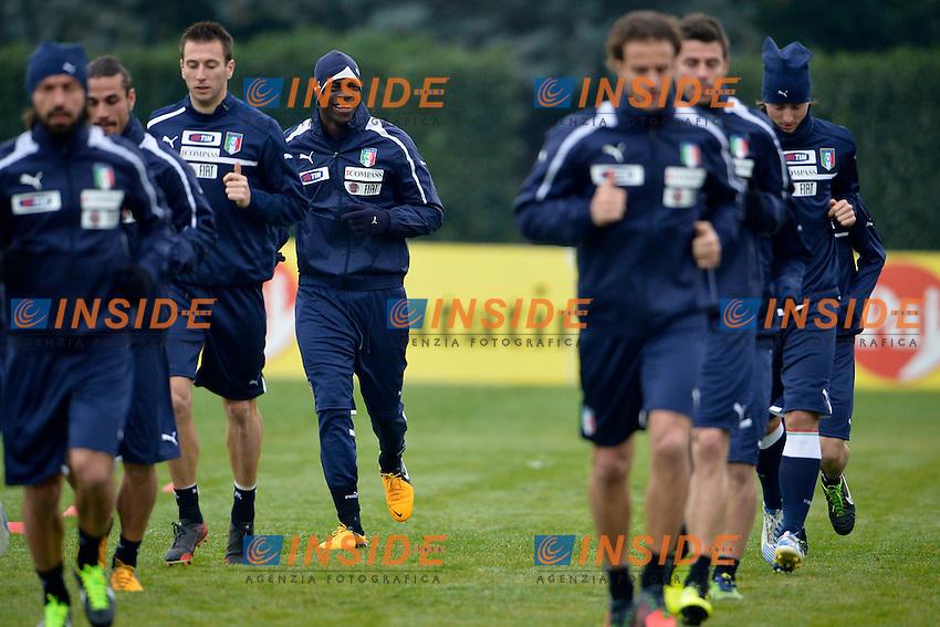 Mario Balotelli (L).05/02/2013 Coverciano .Allenamento Nazionale Italia.Training .Foto Alfredo Falcone Insidefoto .